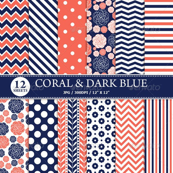 Coral & Dark Blue Digital Paper Pack