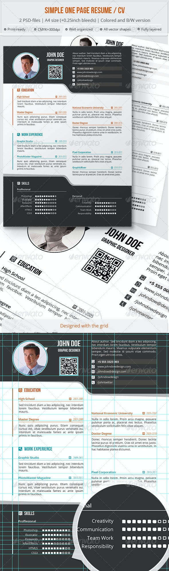 Simple One Page Resume / CV - Resumes Stationery