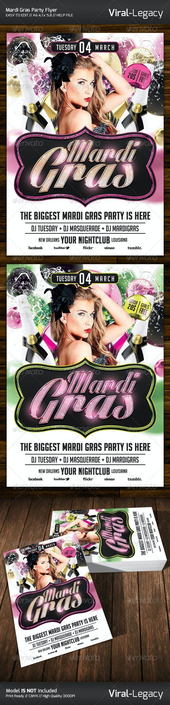Mardi Gras Party Flyer - Flyers Print Templates