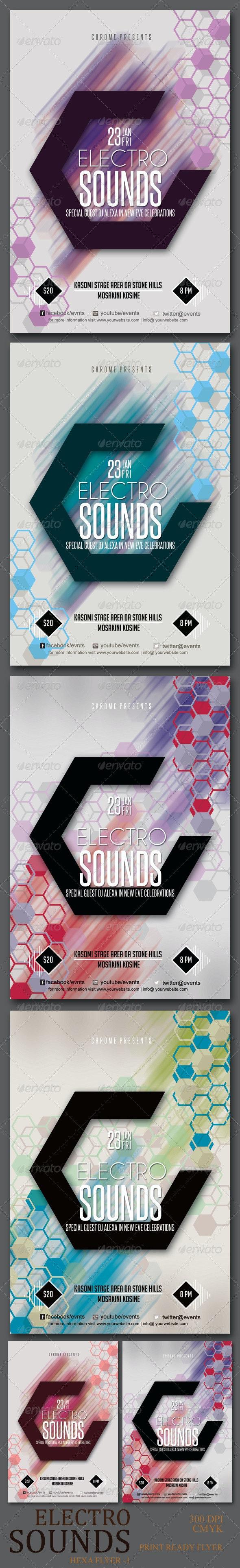 Electro Sounds Hexagon Flyer - Corporate Flyers