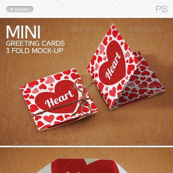 Mini Greeting Cards 3 fold Mock-up
