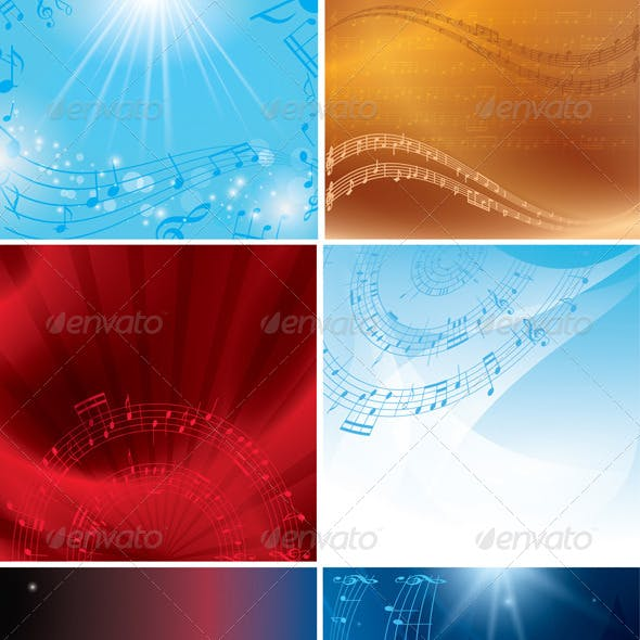 Abstract Musical Backgrounds with Notes