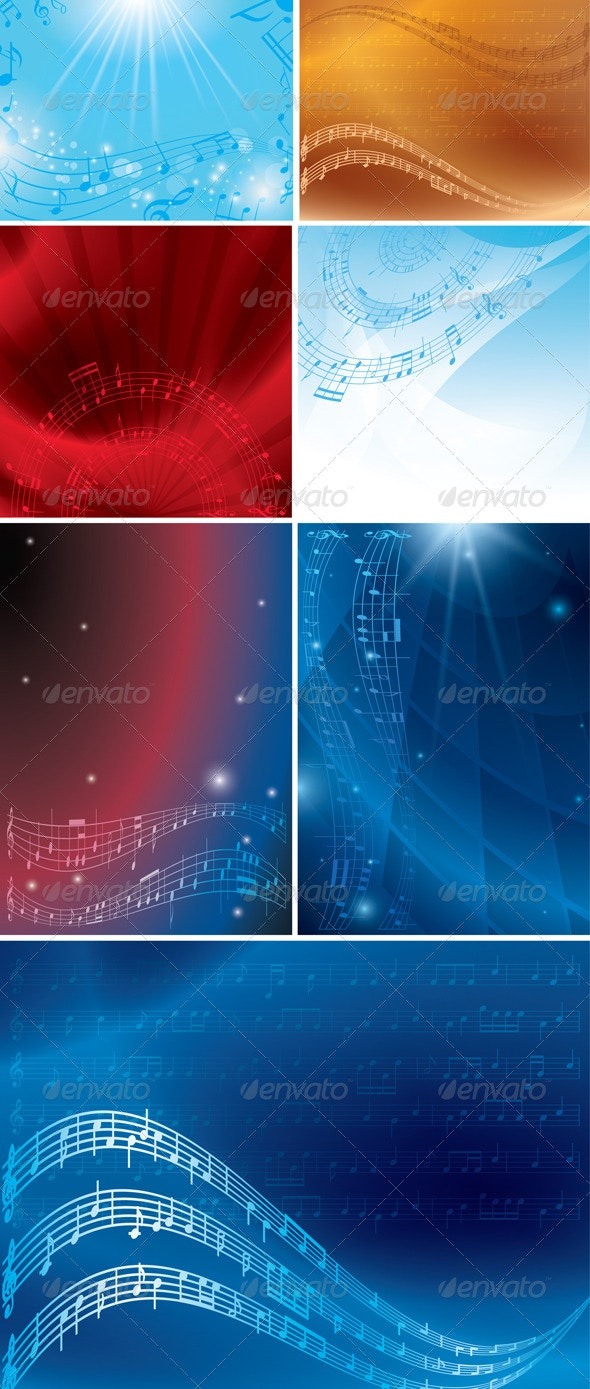 Abstract Musical Backgrounds with Notes - Backgrounds Decorative