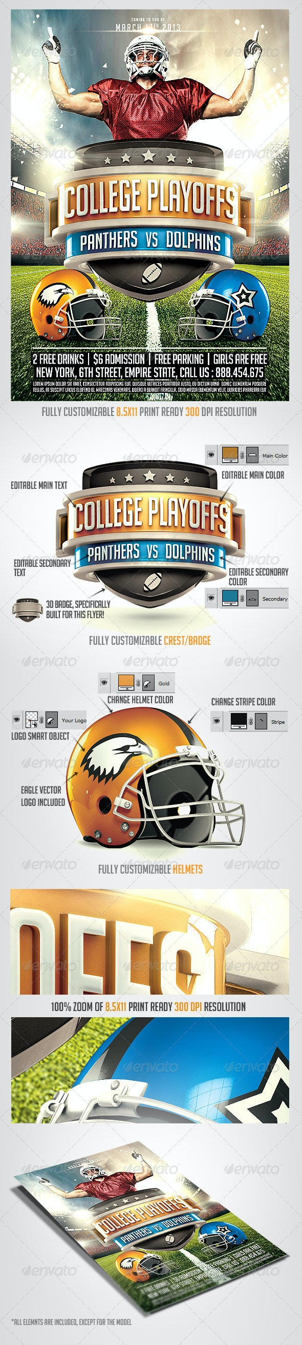 Football Big Game Flyer Template - Sports Events