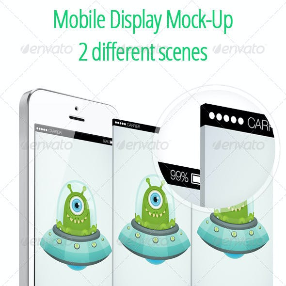 Mobile Display Mock-UP - 2 Isometric Scenes