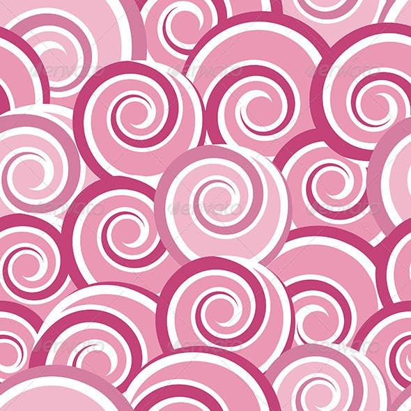 Pink Abstract Seamless Pattern with Swirls
