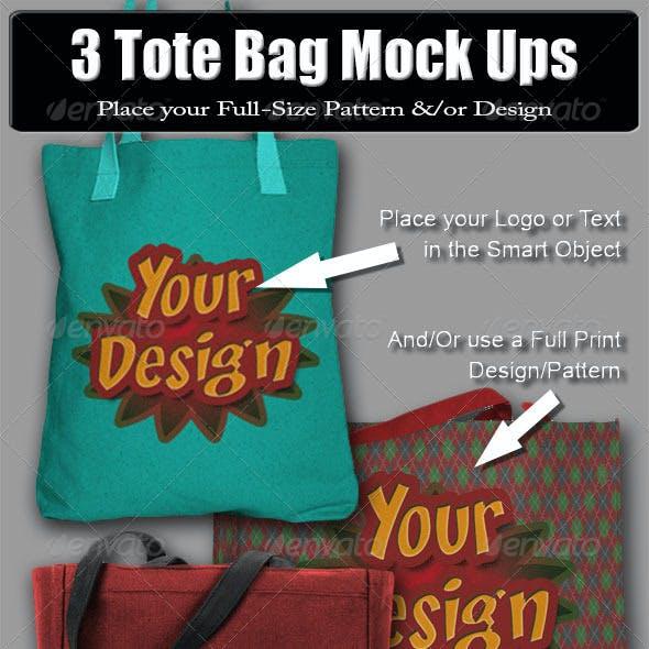 3 Tote Bag Mock Ups