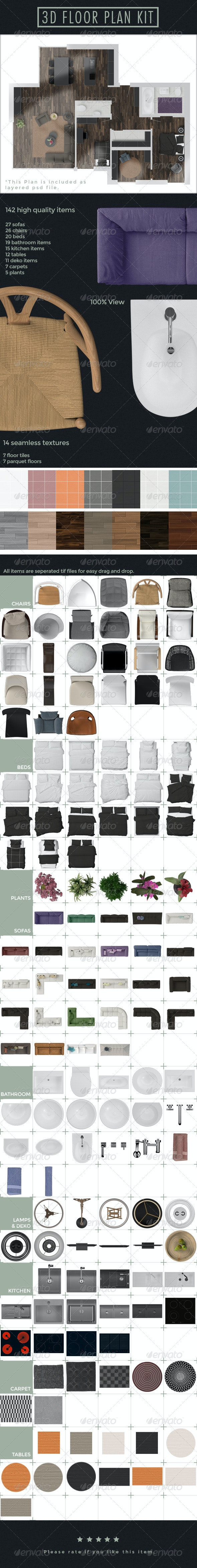 3D Floor Plan Kit - Miscellaneous Product Mock-Ups