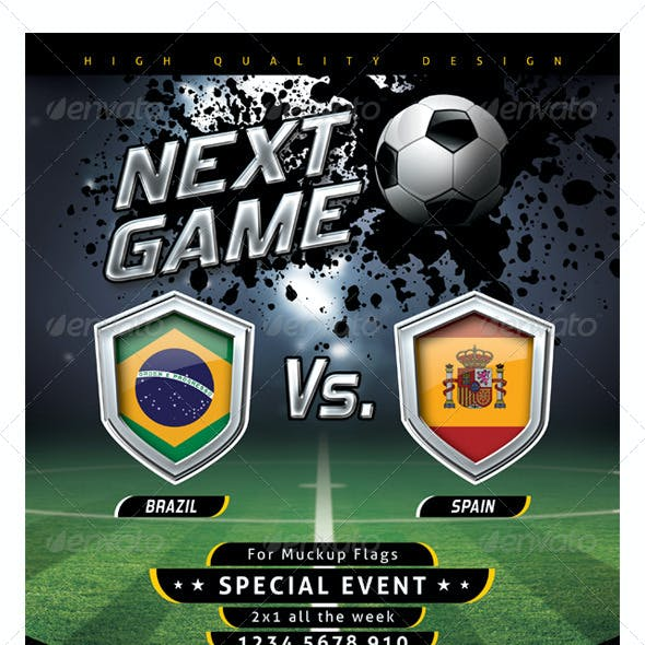 Flyer Soccer Template with Mockup Shields