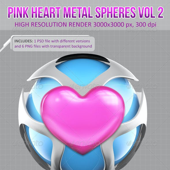 3D Pink Heart Metal Spheres Vol 2