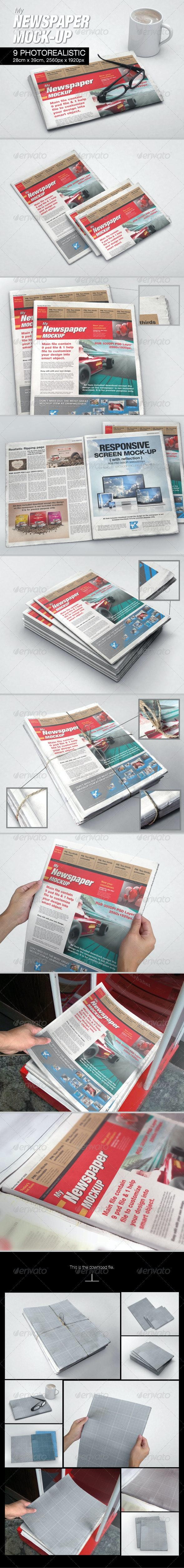 MyNewspaper Mock-up - Print Product Mock-Ups