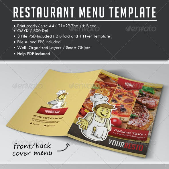 Bi-fold Restaurant Menu Template + Flyer