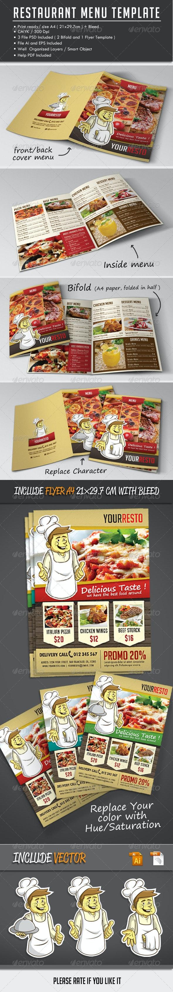 Bi-fold Restaurant Menu Template + Flyer - Food Menus Print Templates