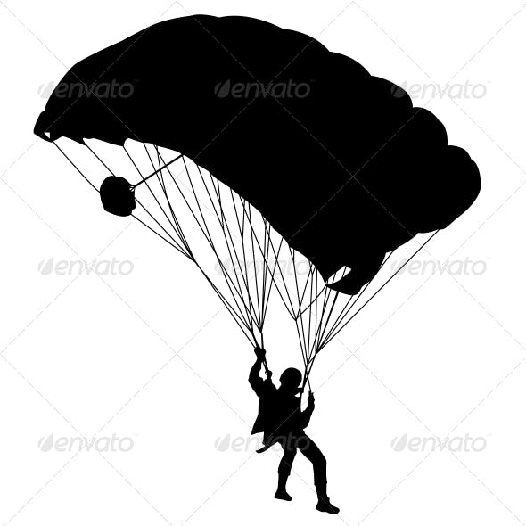 Jumper, Black and White Silhouettes - Vector