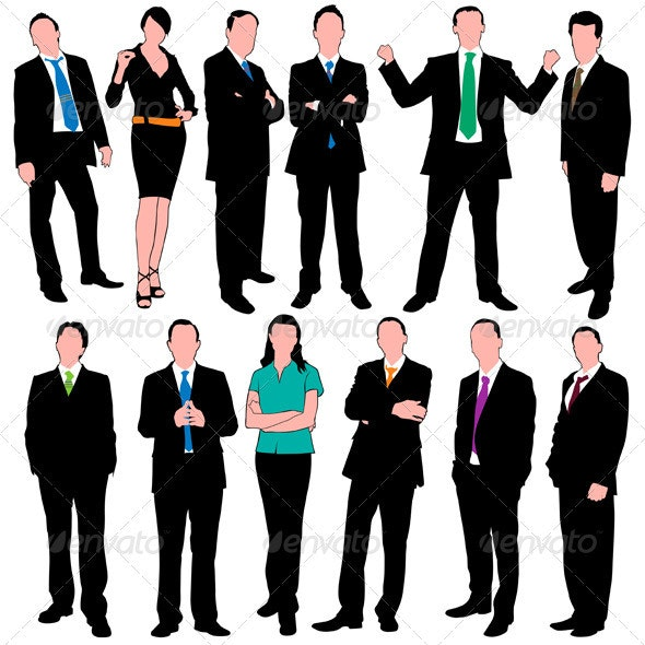 12 Business People Silhouettes Set - Business Conceptual