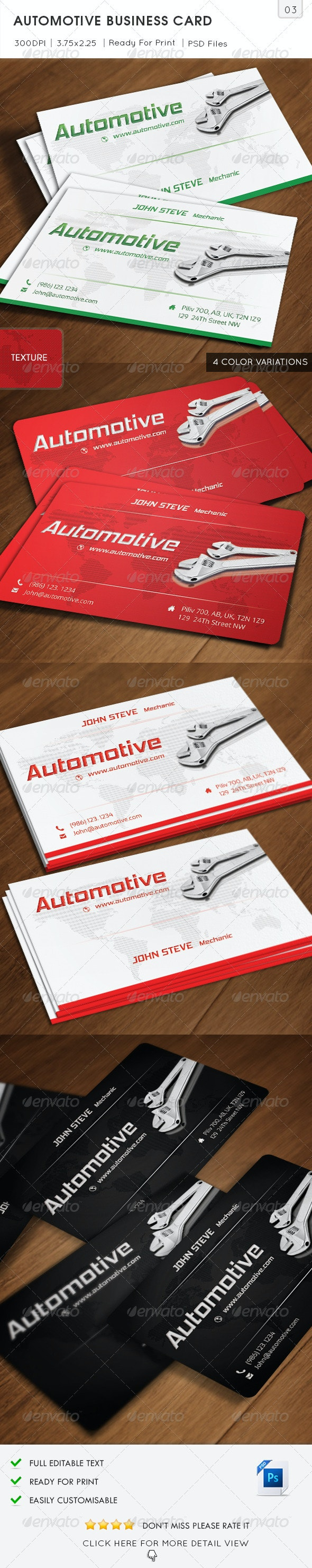 Automotive Business Card v3 - Industry Specific Business Cards