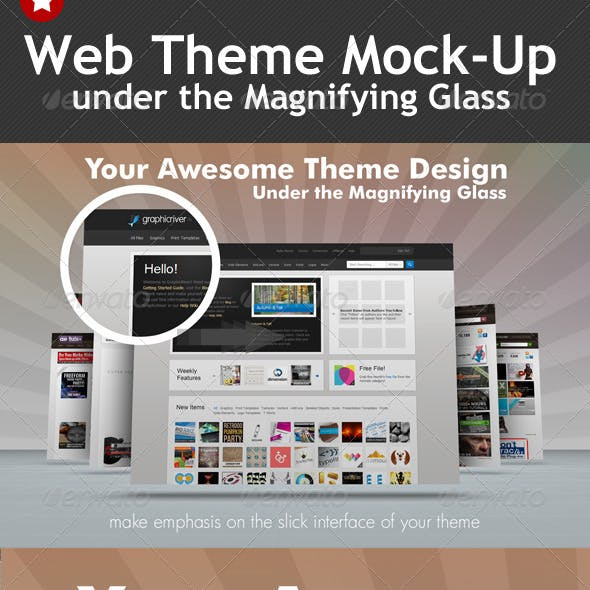 Web Theme Under the Magnifying Glass Mock-Up