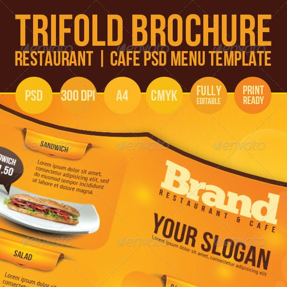 Trifold Brochure Restaurant Cafe Menu PSD Template