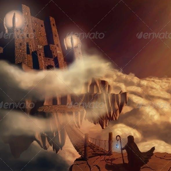 Dark Castle in Clouds Fairytale Fantasy Landscape