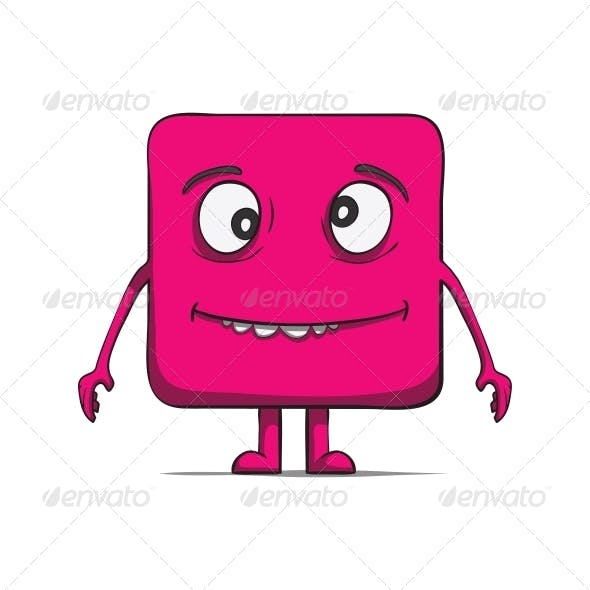 Funny Stupid Cube Dude. Square character.