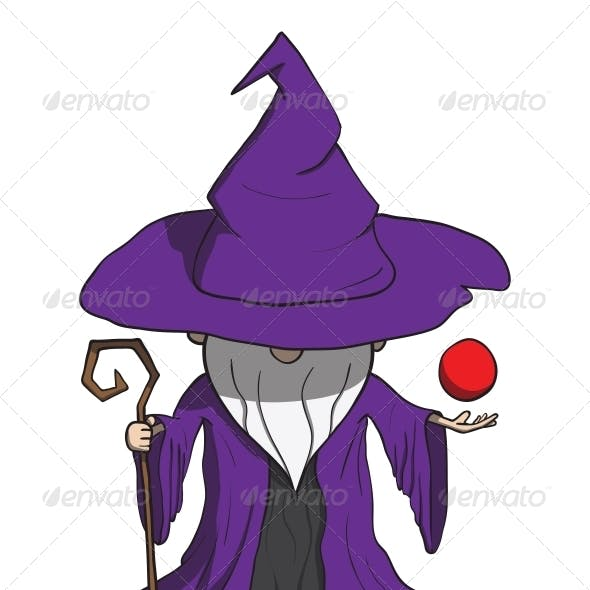 Simple Cartoon Wizard with Staff - Isolated on White