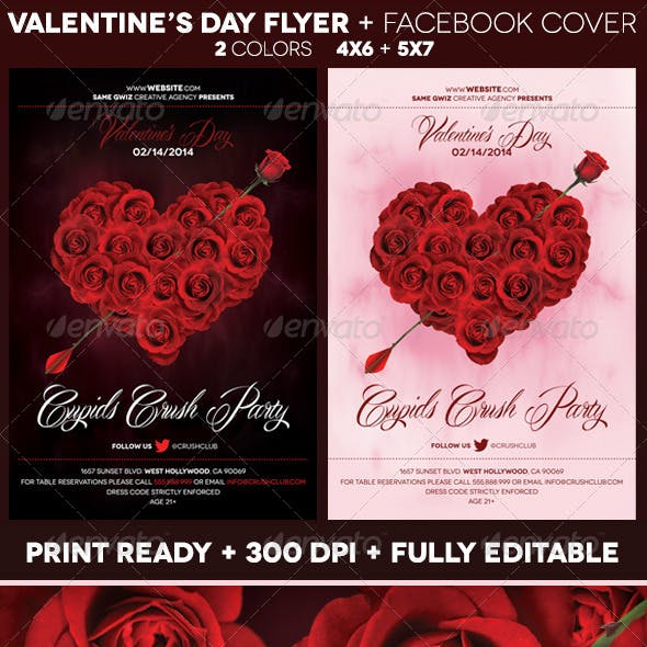 Rose Heart Valentines Day Flyer