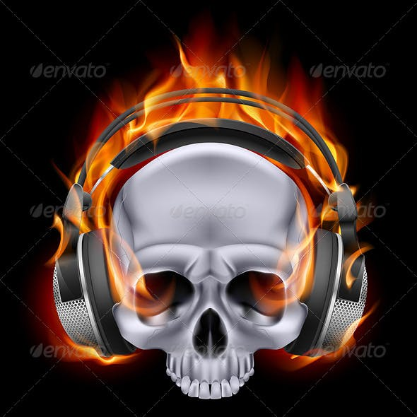 Flaming Skull in Headphones