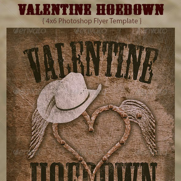 Valentine Hoedown Country Flyer Template