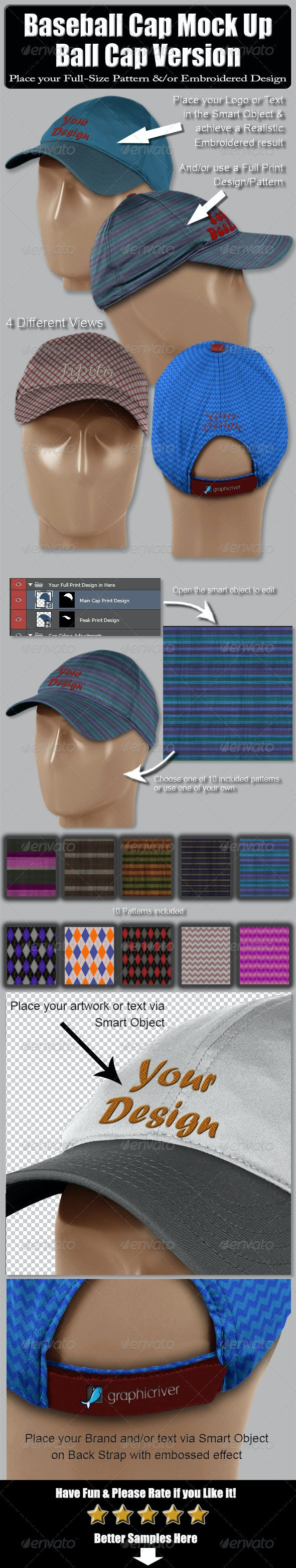 Baseball Cap Mock Up-Ball Cap Version - Miscellaneous Apparel