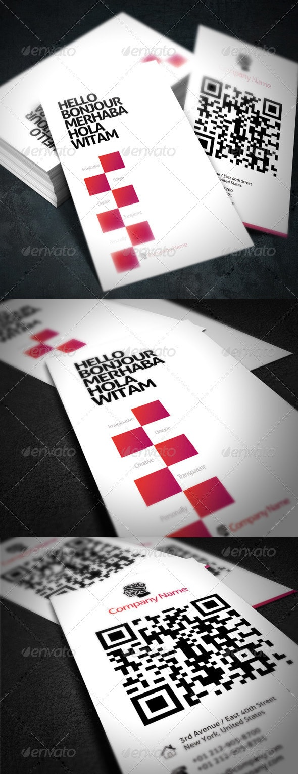 Modern Company Business Card with QR-Code - Creative Business Cards