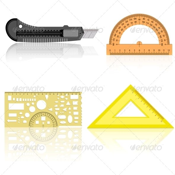 Stationery Knife Ruler and Protractor