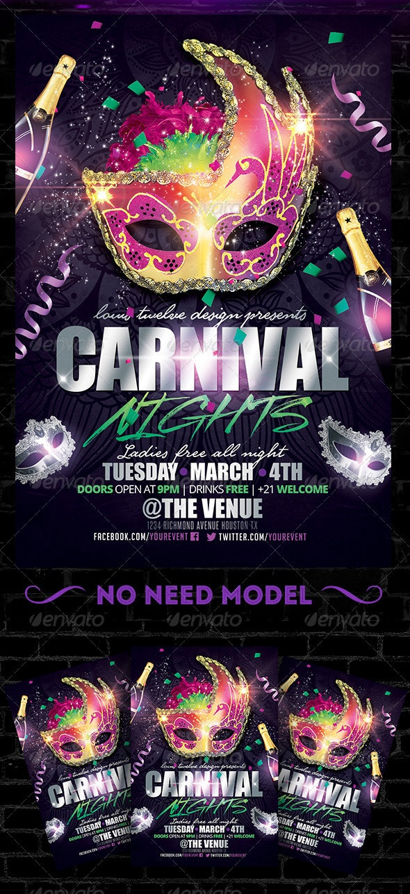 Carnival Nights Flyer Template - Clubs & Parties Events