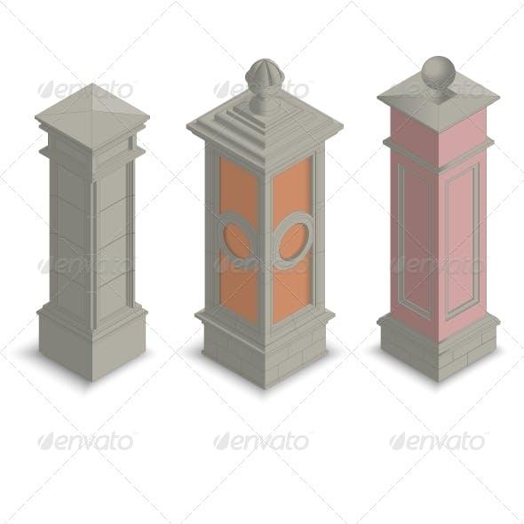 Isometric Gate Pillars
