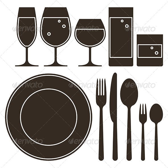 Dining Set with Drinking Glasses