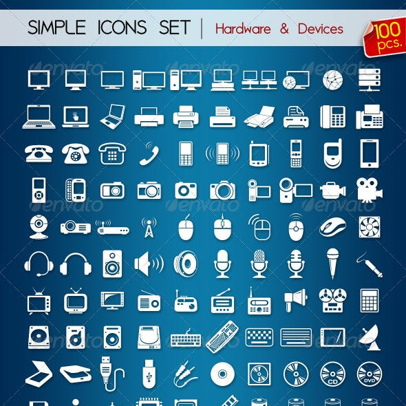100 Simple Icons • Hardware & Devices •
