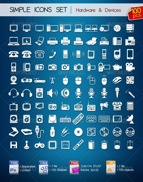 100 Simple Icons • Hardware & Devices • - Web Icons