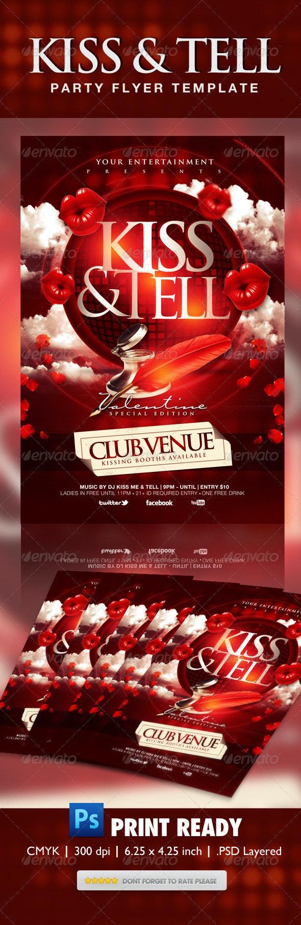 Kiss & Tell Valentine Flyer  - Events Flyers