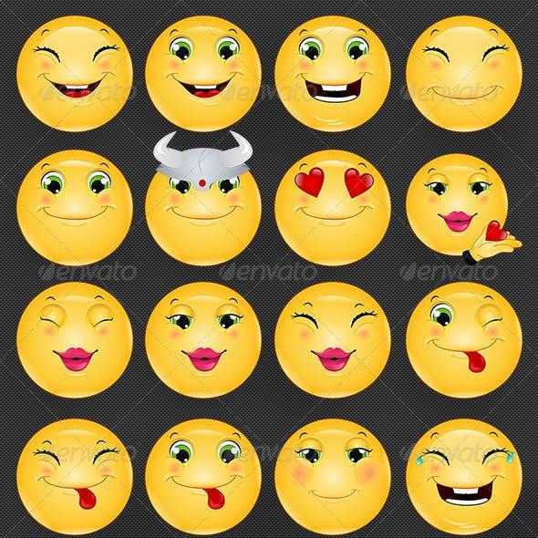 Emoji / Emoticon Happy Icons Set