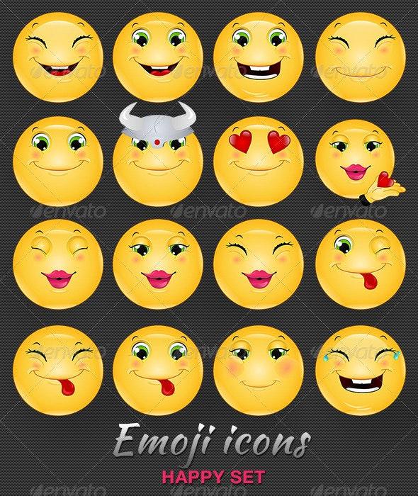 Emoji / Emoticon Happy Icons Set - People Characters