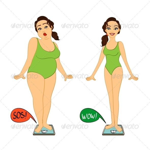 Fat and Slim Woman on Weight Scales