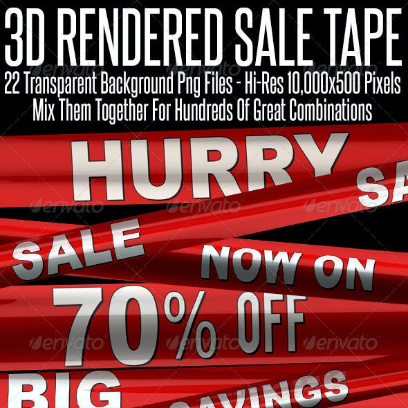 Shop Sale Plastic Tape 3D Renders