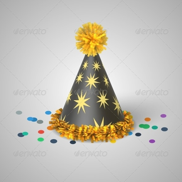 Grey Party Hat with Yellow Stars - Miscellaneous Seasons/Holidays