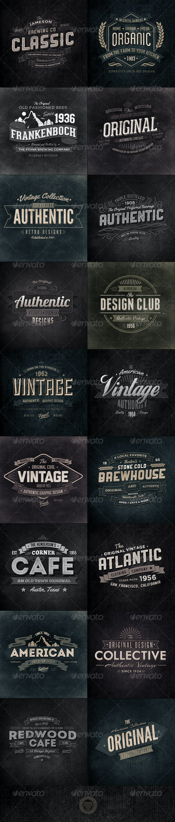 18 Retro Typographic Insignia and Badges Bundle - Badges & Stickers Web Elements