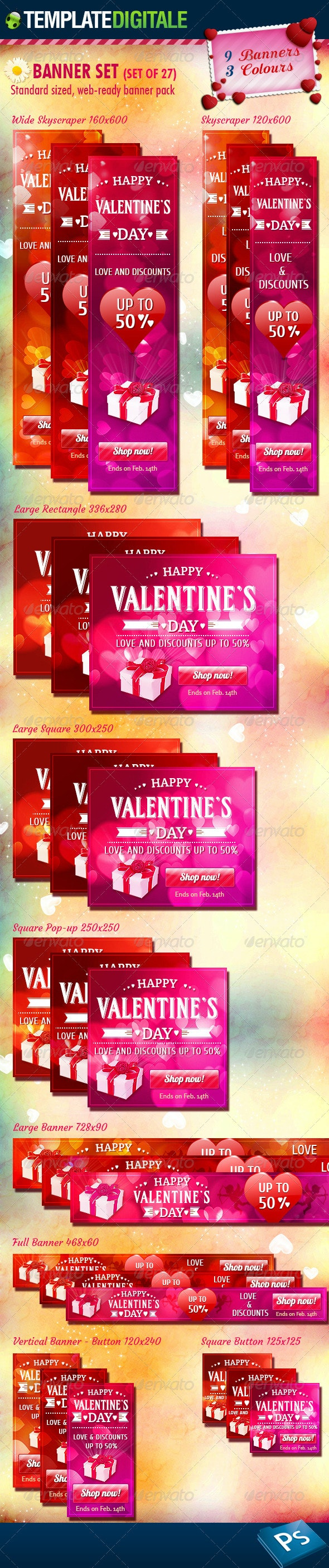 27 - Valentine's Day Banner Set - Banners & Ads Web Elements