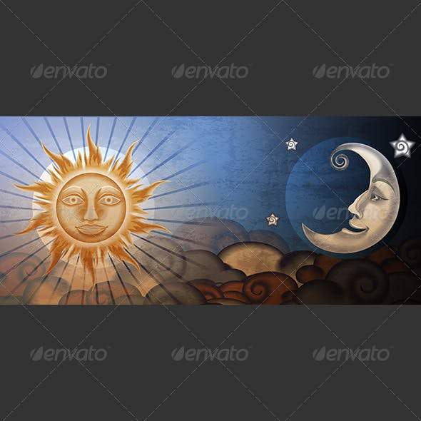 Grunge Sun and Moon in Front of Clouds - Fresco