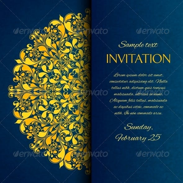 Ornamental Blue with Gold Embroidery Invitation Ca