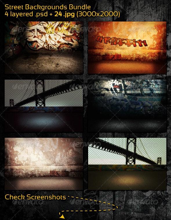 Street Backgrounds Bundle - 3D Backgrounds
