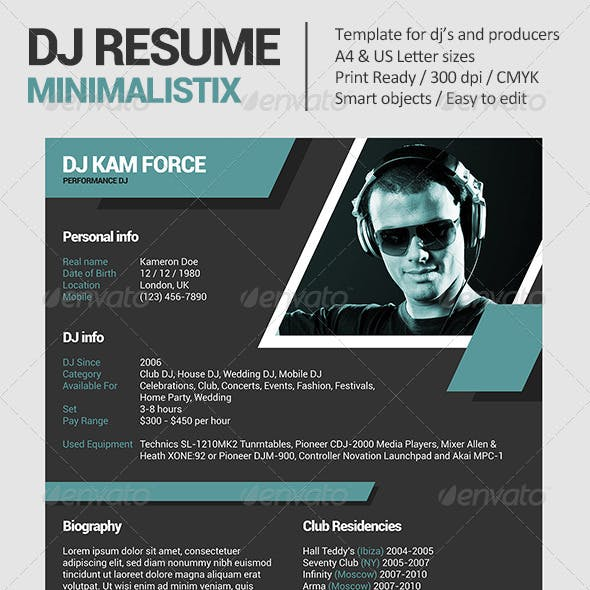 Minimalistix - DJ Resume / Press Kit