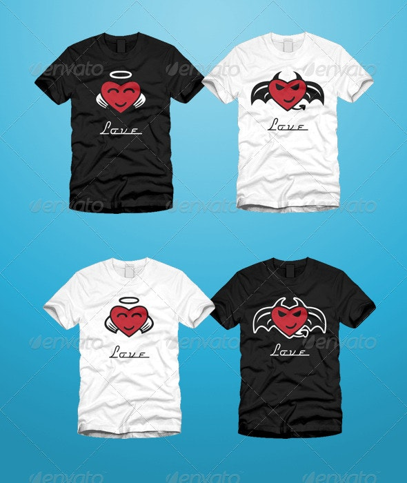 Devil and Angel Hearts Valentine T-Shirt - Funny Designs