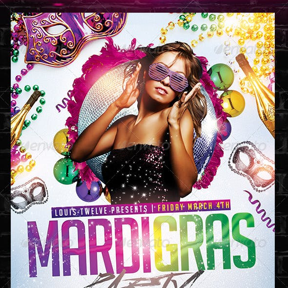 Mardi Gras / Carnival Party Flyer Template